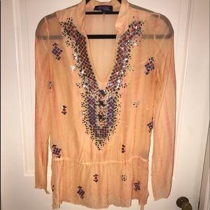 Hale Bob Orange Silk Embellished Shirt